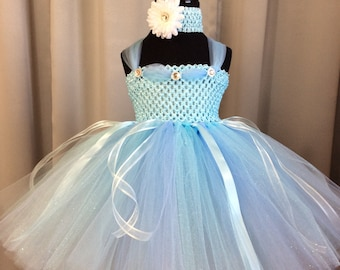 Light blue princess tutu dress, infant tutu, little girl tutu, toddler tutu, birthday dress, girl birthday gift, baby shower gift