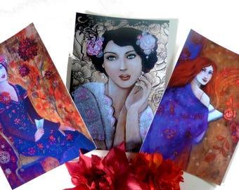 Art postcadrds with woman portrait romantic and bohème.