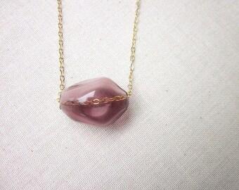 Minimalist glass Necklace, Casual Bead Necklace, Simple Purple Necklace, Mauve Jewelry, Women's One Bead Necklace, Blown Glass Bead Necklace