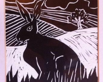Original lino cut print: Alert and watchful.  Black and white art print.