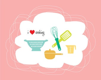 I Heart Cooking- Instant digital download, kitchen, wall decor, gift, housewarming
