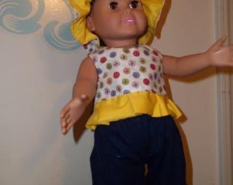 "18"" doll Yellow Dotted set 317E"