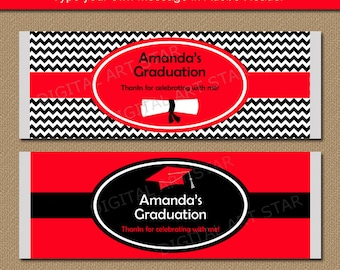 Graduation Candy Bar Wrappers Red Black Class of 2018, Printable Graduation Party Favor EDITABLE TEXT Graduation Template Party Printable G3
