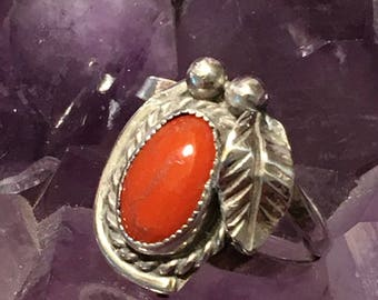 Vintage Native American Old Pawn Sterling Silver Coral Ring - Native American Sterling Silver Ring-  IHMSS Signed Old Pawn Ring