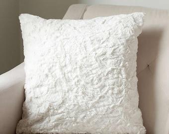 Faux Fur Throw Pillow Cover   Ivory Cushion Cover   Accent Pillow   Sofa Cushion {Faux Fur Cushion Cover}