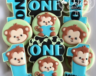 Little Monkey Lil Monkey Fun to be One First Birthday Cookies