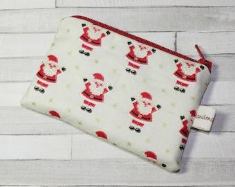 Coin purse, change purse, Christmas purse, with Santa print
