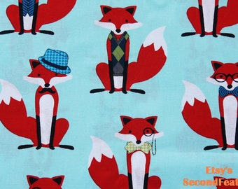 Fox and The Houndstooth - Aqua - designed by Andie Hanna - 100% Cotton Fabric - 1 yard - more for one cut