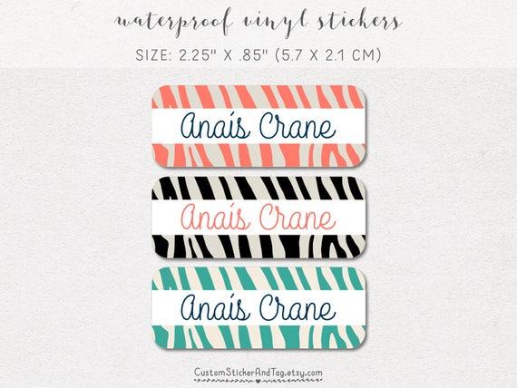 30 custom name labels animal print waterproof stickers zebra