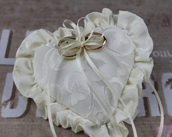 Ring Pillow, Cream Ring Cushion, Ring Bearer Pillow