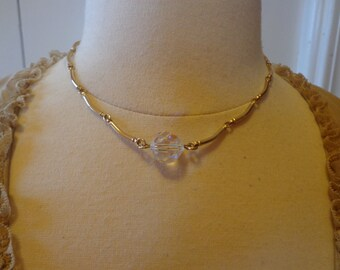 Vintage Sarah Coventry Gold Tone and AB Cut Glass Necklace or Choker and Matching Pierced Earrings
