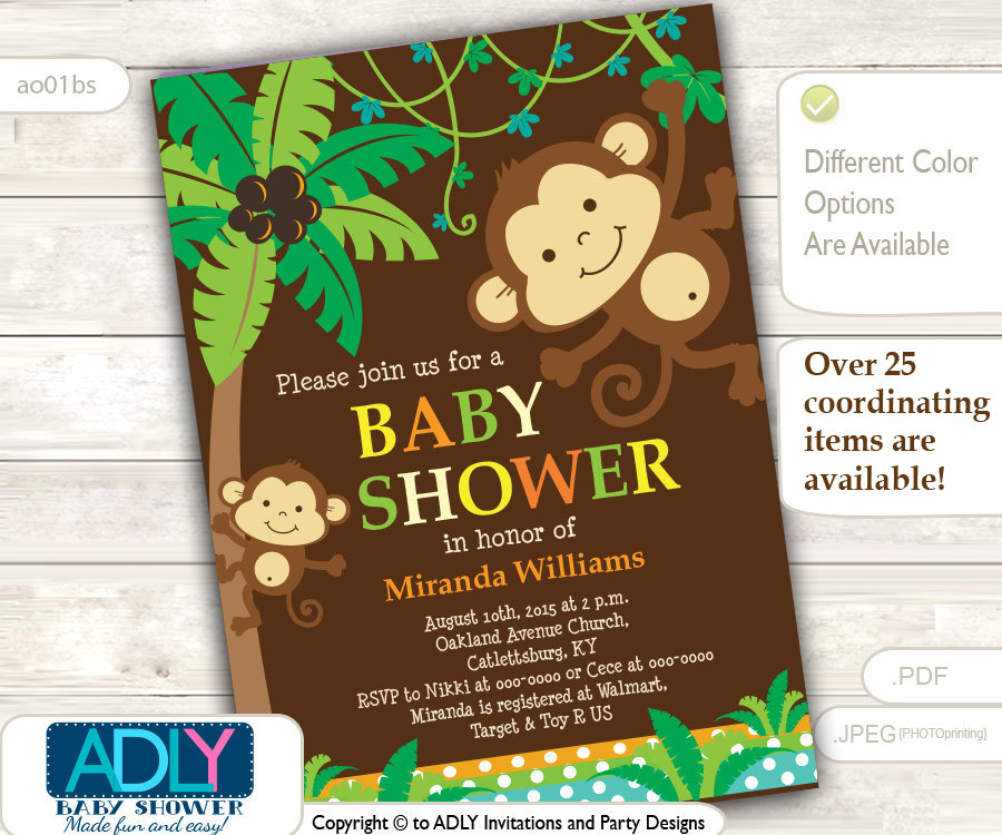 Personalized Jungle Monkeys Baby Shower Printable DIY party