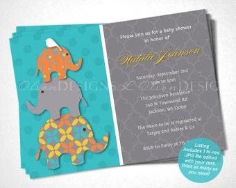 Stacked Elephant Baby Shower Invitation - Turquoise & Orange - DIY Printable