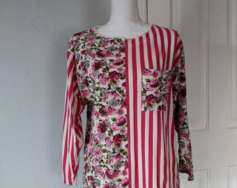 80s/90s MixedPrint Pink Floral Striped Pocket Top Size Large Handmade