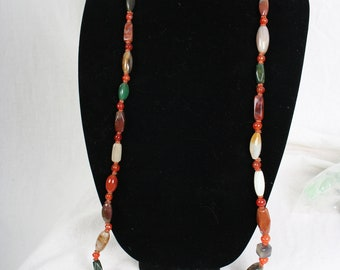 "vintage Estate Stone Necklace - Boho, ethnic, southwest, hippie 48"" long"