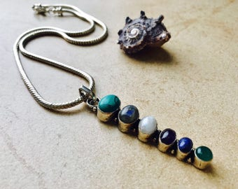 Six stone silver necklace tourmaline pearl turquoise amethyst malachite silver stone necklace