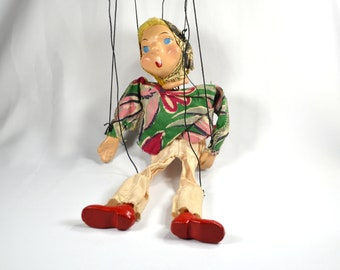 Vintage Composite Marionette String Puppet with Yellow Yarn Hair and Head Scarf, Patty the Marionette by Peter Puppet Playthings