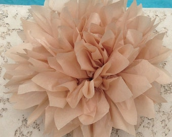 TAN / 1 tissue paper pom pom / baby shower / wedding decoration / birthday / bridal shower / nursery decor / nuetral / photo prop / DIY