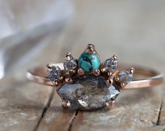 All Seeing Eye Ring with Black Diamond + Turquoise