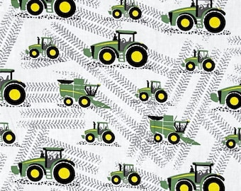 Farm Fabric: John Deere Little Farm Multi - Different kinds of Tractors  100% cotton Fabric by the yard (SC1084)