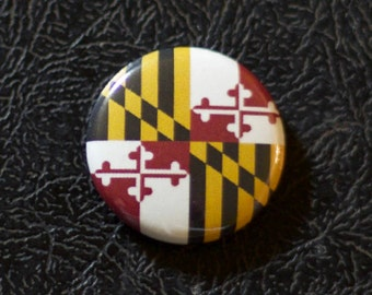 "1"" Maryland flag button, state, pin, badge, pinback"