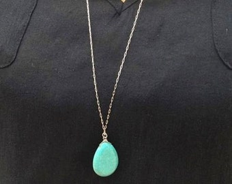 Turquoise Necklace. Long Silver Turquoise Necklace. Layered Necklace. Layering.Turquoise Jewelry.Blue Necklace.Statement Necklace. Simple.