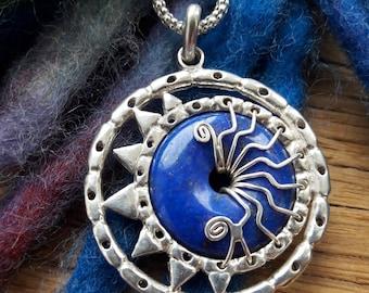 Lapis lazuli necklace handcrafted sterling silver jewellery artisan design sun moon eclipse blue gemstone