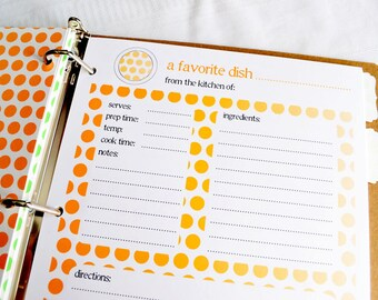 Recipe Binder Card Refills - Additional Full Page Recipe Card Sets for your Recipe Binder in Ombre Dots Design