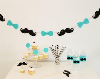 Little Man Bash. Mr Man Birthday. 1st Birthday. Mustache and Bowtie Garland