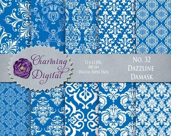 Blue Damask Digital Paper, Blue Scrapbooking Digital Paper, No. 32 Dazzline Damask