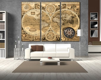 Old world map etsy old world map wall art vintage world map canvas print wall art world map wall decor gumiabroncs Images