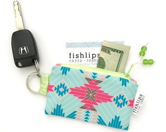 Tribal Aztec Recycled Key-chain Coin Purse, Geometric Mini Zipper Pouch, Hot Pink Business Card Case, Handmade Pouch, Aqua Gift for Women