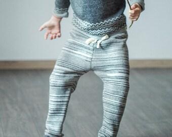 SAMPLE SALE Melange pants knitted sweatpants for kids girl boy toddler gray pants for boy drawstring pants alpaca sweatpants kids joggers