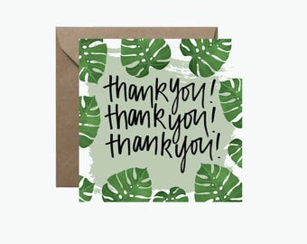 Thank You, Thank You, Thank You Square Greeting Card | Monstera Leaf