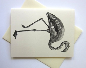 Flamingo Cards Set of 10 in White or Light Ivory with Matching Envelopes