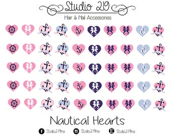 Nautical Hearts Waterslide Nail Decals