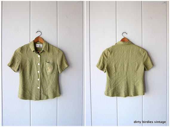Olive Green Top | 90s Minimal Shirt | Button Up Short Sleeve Modern Tee Basic Pocket Top Casual Rayon Shirt Vintage Womens XS Small
