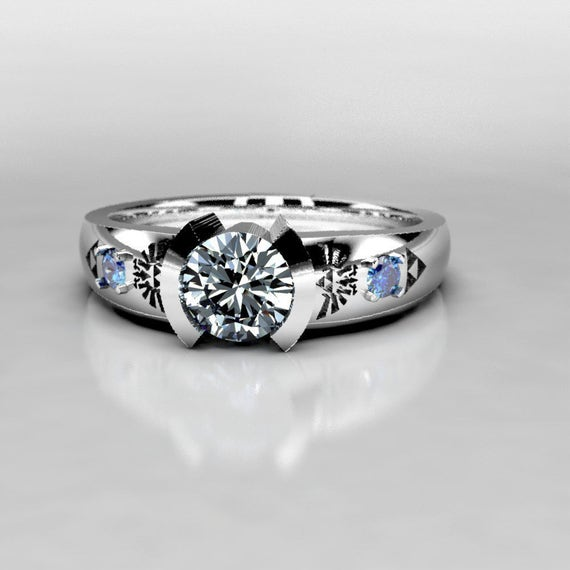 Zelda Engagement Ring in Silver Palladium Gold Forever One