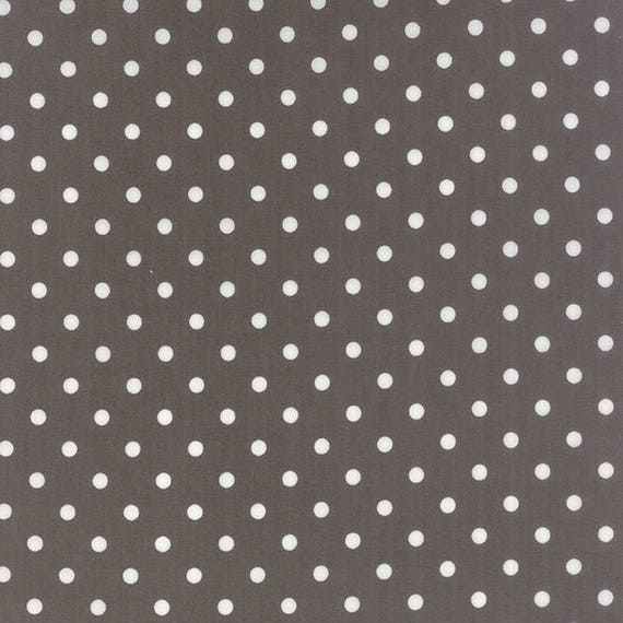 Corey Yoder Little Miss Shabby Dark Grey White Dot Quilt Fabric. 29005-23