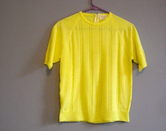 Vintage 60s Sweater Bright Yellow Short Sleeve Acrylic Secretary Sweater Winter Fashion