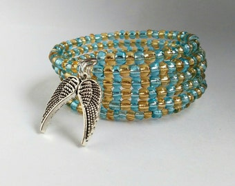 Golden Yellow and Light Blue Wings Seed Bead Bracelet
