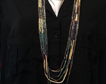 Bohoemian Long Necklace    Layering Necklace   Southwestern Beaded Necklace    item 2264