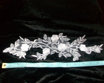 Lace Applique, White shiny satin stitch for bridal or craft
