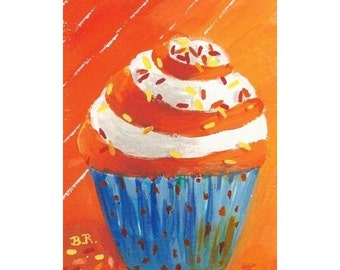Original Painting * CUPCAKE CREATION * ACEO Small Art Format by Rodriguez