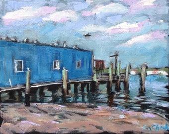 """Pelicans at Safe Harbor Original Art Oil Plein Air Painting- 10"""" x 8"""""""