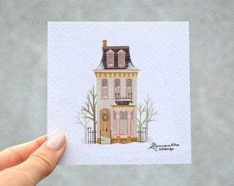 4x4 Print - Victorian Snowy Christmas House