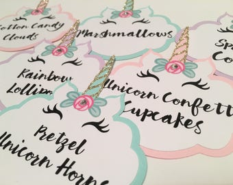 Unicorn Party Food Labels - Set of 6 | Food Labels | Candy Buffet Labels | Dessert Bar | Food Tags | Place Cards