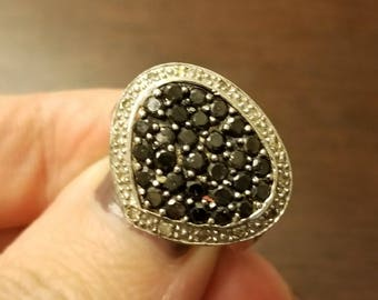 Estate 1.30ctw.Black and White Diamond Ring. 10kt. White Gold. Size 6. (Sizable)