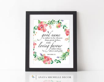 Proverbs 22:1  Scripture Wall Art Printable Christian Home Decor / Bible Verse Print / Watercolor Floral / WHITE / INSTANT DOWNLOAD