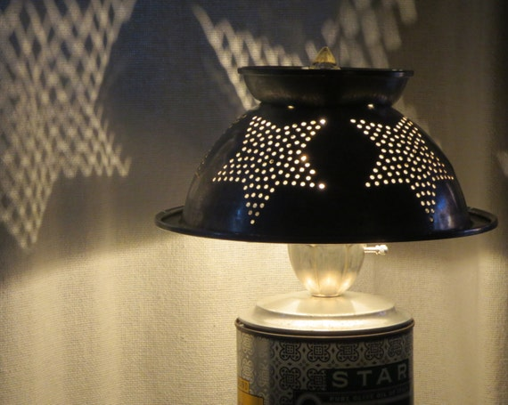 Stella Starbot colander and olive oil tin lamp